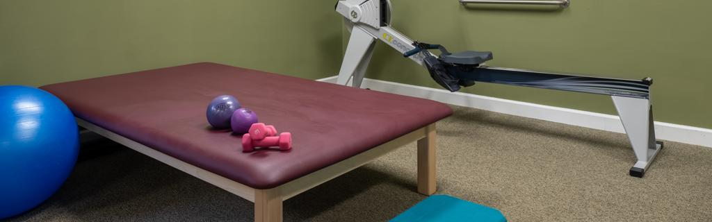 Workout room with dumbbells, mat, exercise ball and bike
